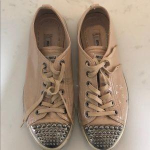 Miu Miu studded cap-toe sneaker size 37